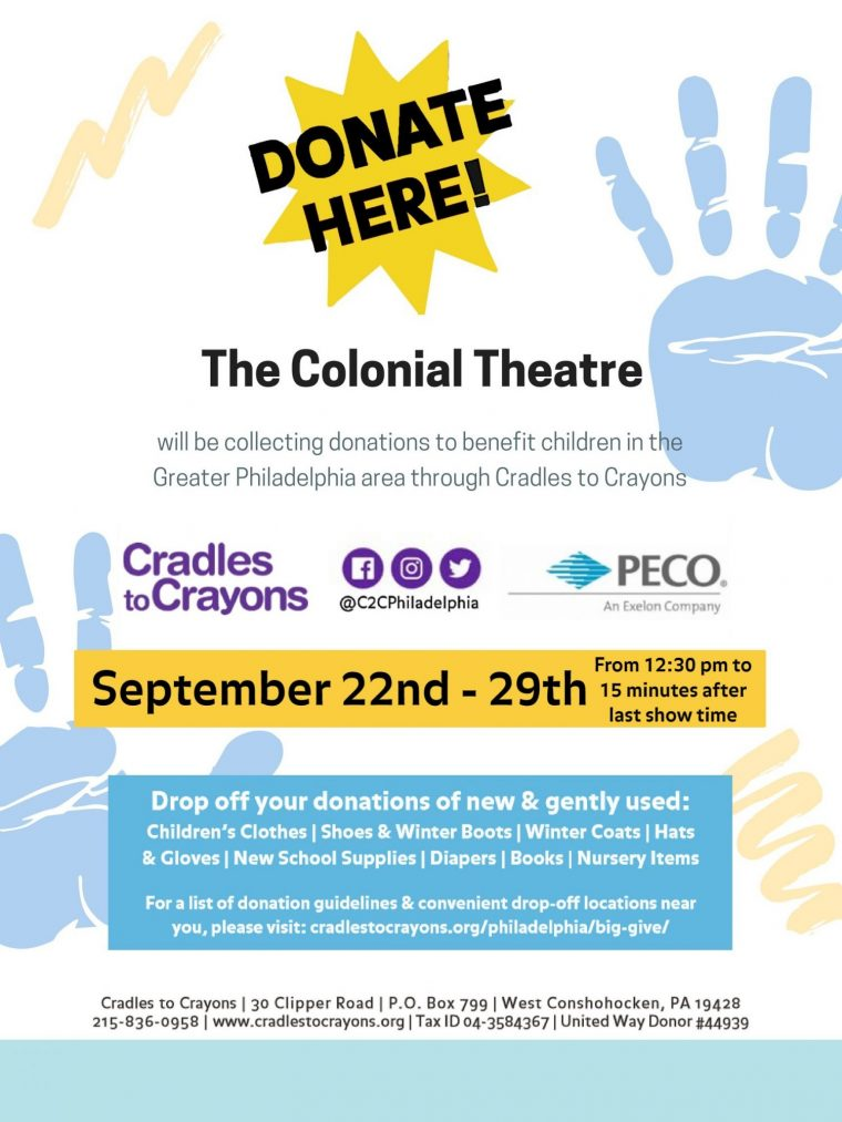 Cradles to Crayons Big Give Donation Collection at the Colonial Theatre