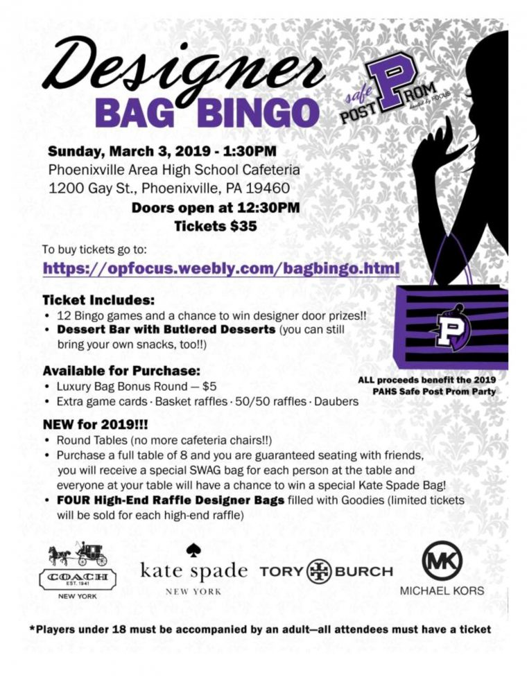 SOLD OUT! Designer Bag Bingo presented by Operation FOCUS/Phoenixville Post Prom