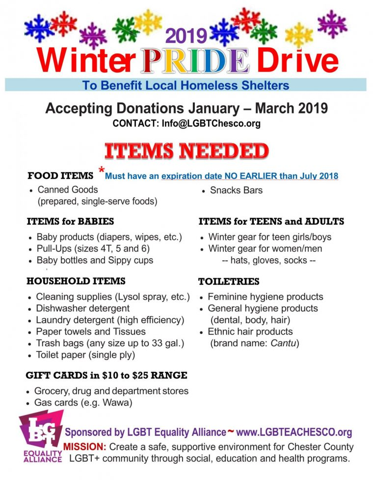 Winter Pride Drive & Packing Party 2019
